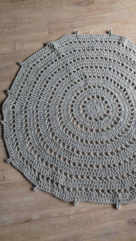 Verrassend Rond gehaakt vloerkleed licht grijs grijs vloerkleed grijs | Etsy NJ-36
