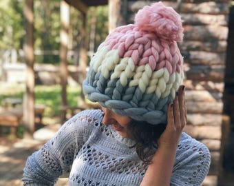Merino Hat, Pom Pom Hat, Pink Hat, Kids Hat, Wool Beanie, Chunky Yarn, Gift for Her, Merino Wool, Thick Winter Beanie