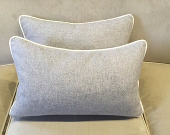 Zimmer and Rhode wool covered rectangular cushion
