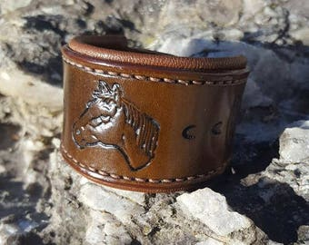 Leather horse head bracelet