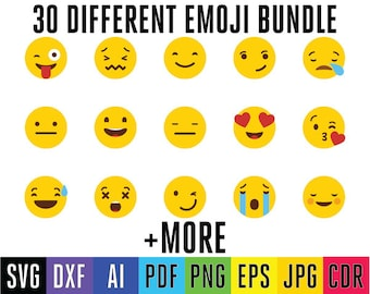 Emoji SVG Collection - Emoji DXF - Emoji Clipart - Svg Files for Silhouette Cameo or Cricut Svg Dxf Eps Ai Pdf Jpg Png