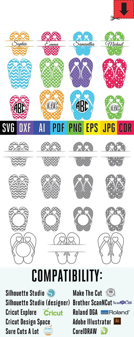 Flip Flops monogram svg Summer beach Flip flop cuttable FlipFlop ...