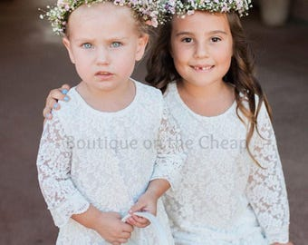 Lace Flower Girl Dress Rustic Vintage Flower Girl Dress