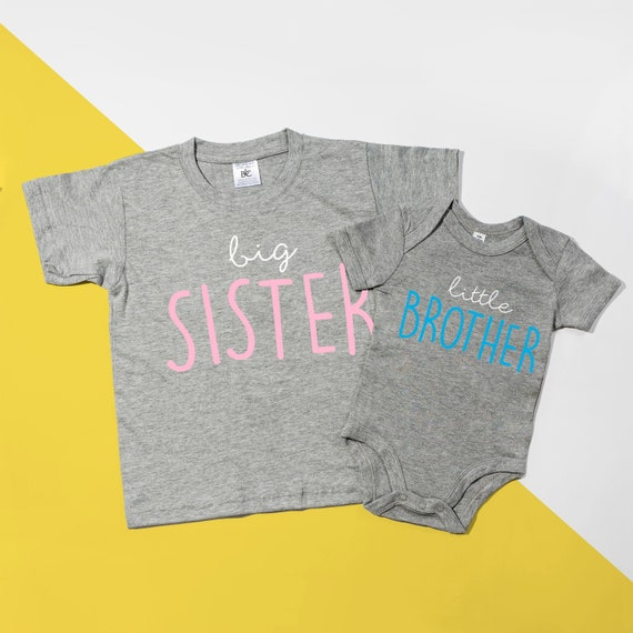 Elephant Big Sister T-shirt /& Little Sister Bodysuit Cute Matching Set POM CLOTHING