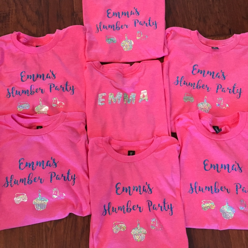 416fcc0ab61 Birthday Party Matching Custom Colors Shirts sleepover