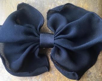 Vintage hair barrette/retro hair accessory/French hair barrette/black bow hair clip/black ribbon hair ornament/gift for her/Made in France