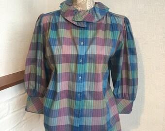 3983c5ea5d9f Retro-Bluse Damen Bluse 80 retro Bluse 3 4-Länge Ärmel Größe M Geschenk für  ihre Karo Bluse Rüschen Kragen Frühjahr Mode Puff Ärmel