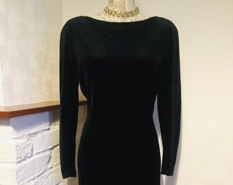 4f9966a67cfe Black dress velour fitted dress vintage 80 s dress gorgeous prom party  dress Small size Made in Japan Hollywood style LBD Timeless elegance
