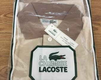 e9a67c4947ca67 Polo shirt 70 s Chemise Lacoste Brown T shirts LACOSTE Made in France 100%  cotton French size 2 Mens XS Crcodile Vintage shirt Tennis