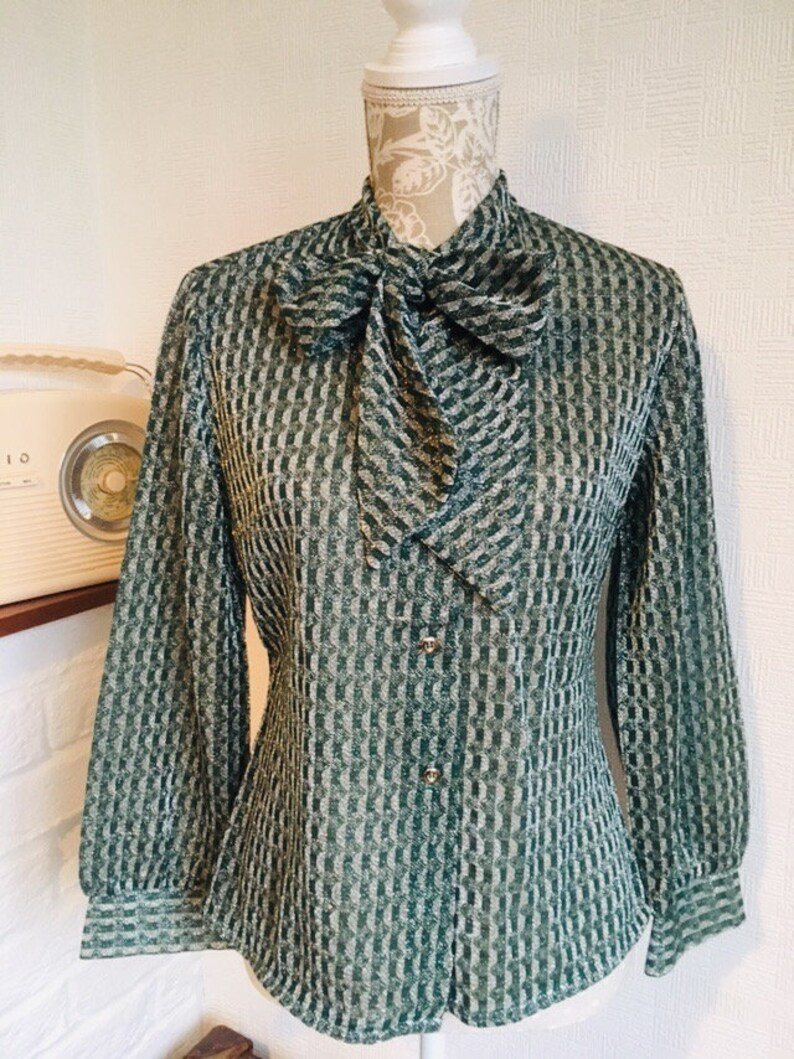 bbb1c31150d6d 1970 green metallic blouse long sleeve shirt vintage