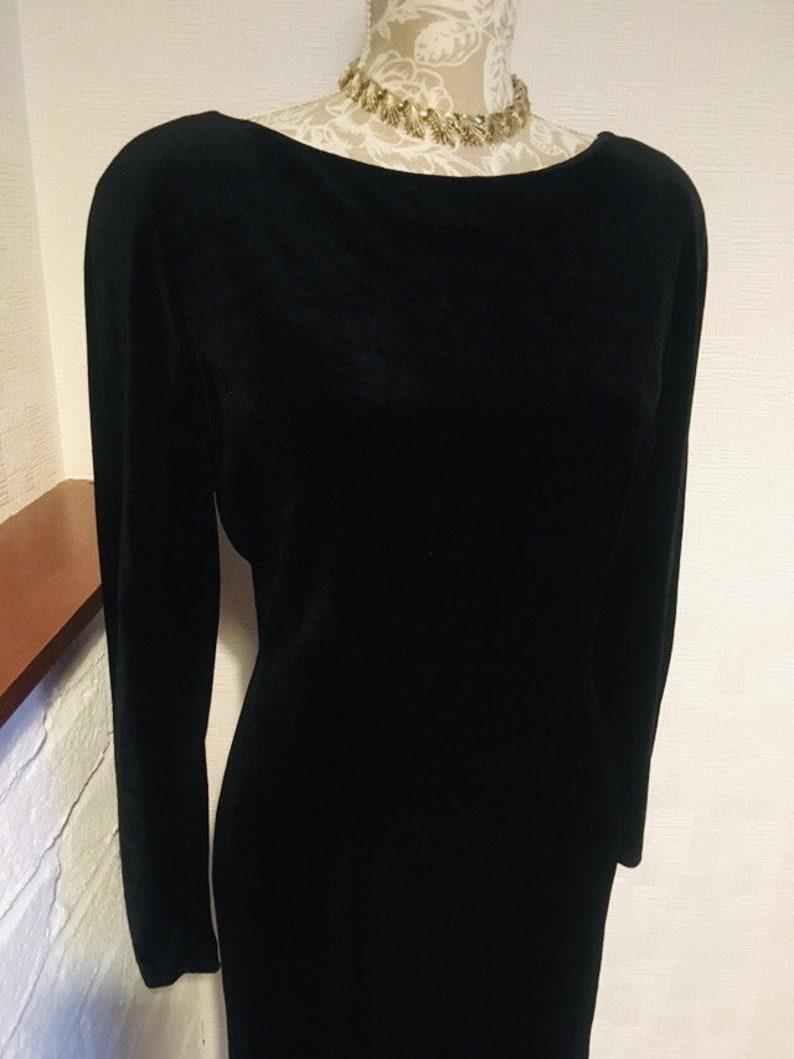 3fa072efb209 Black dress velour fitted dress vintage 80 s