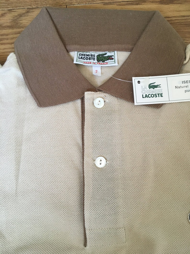 ef36269a3acb5 70's Lacoste Polo/Chemise Lacoste/Brown T shirts/LACOSTE/Made in  France/100% cotton/French size 2/Mens XS/Crcodile/Vintage shirt/Tennis