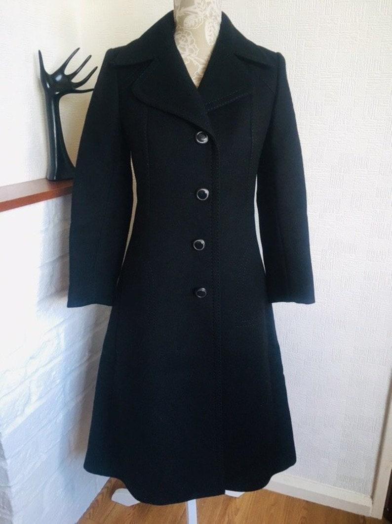 new product 2d7c3 4748e Damen Mantel / eine Linie wolle Mantel/schwarz Mantel/Französisch  Jahrgang/70 Retro/einzelne Zweireiher Mantel/Größe S/Schwarz  Mantel/Mods/Französisch ...