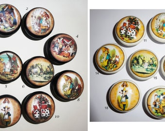 ALICE IN WONDERLAND vintage collection! Hand Painted Black or White with Decoupage Designs Wooden Door Drawer Knobs Great Gift Idea!