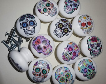 SUGAR SKULLS! Mexican Day of the Dead! Hand Painted 40mm Wooden Door Drawer Knobs with Decoupage Decoration. Great Gift Idea!