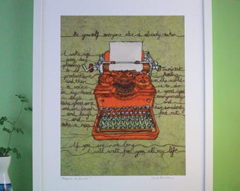 Typewriter Print, Antique Typewriter, Manual Typewriter, Bookworm Picture, Thread Drawing, Librarian Gift, Book Lover Gift, Bookworm Gift