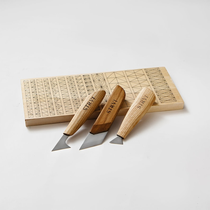 Wood carving knives set with basswood practice board for etsy