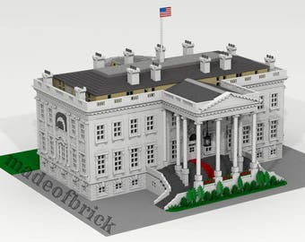 CUSTOM LEGO BUILDING The White House. Washington (United States of America). Giant Size: 45x40x18 inches!!!