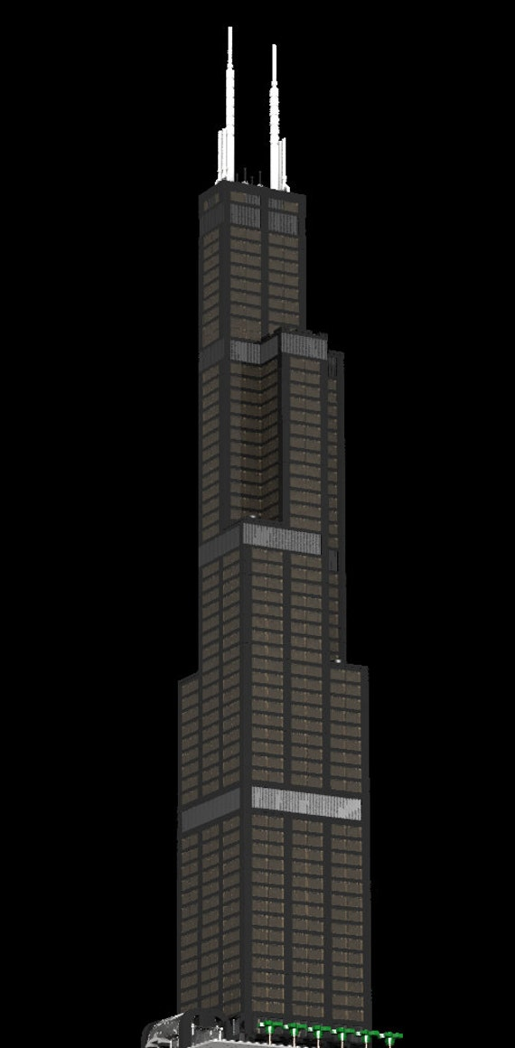 Custom Lego Building Willis Tower Sears Tower Chicago Etsy