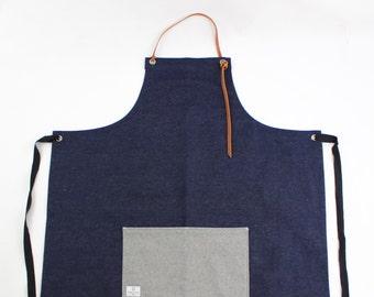 Handmade 12oz Denim Apron (100% leather neck strap)