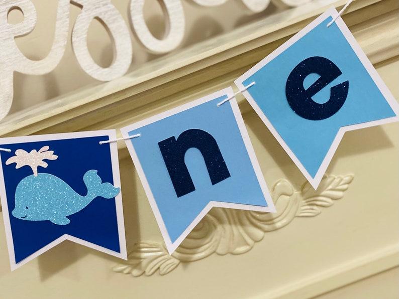 Whale Birthday Banner Whale One High Chair banner First Birthday Party Whale Birthday Signs