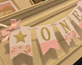 Pink and Gold First Birthday High Chair Banner, Glitter 1st birthday