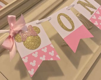 Minnie Mouse Birthday Banner | Minnie Mouse 1st Birthday Party Decorations | Pink Minnie Mouse Banner| first Birthday Girl Banner