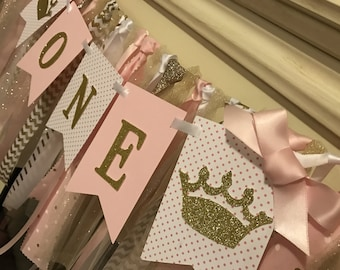Pink and Gold First Birthday Banner. Princess birthday banner. Princess birthday party .First Birthday Girl Decorations