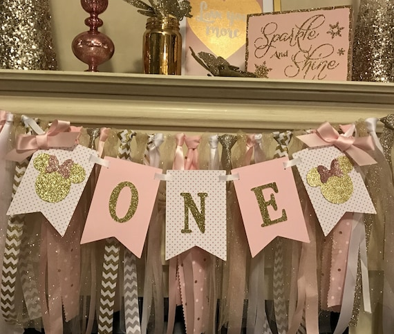 Pink And Gold Minnie Mouse Birthday Decorations Minnie Mouse 1st Birthday Party Minnie Mouse Birthday Banner