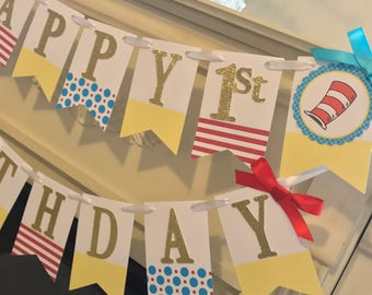 Cat in The Hat Banner, Cat in The Hat Birthday Banner, Cat in The Hat Party, Happy Birthday