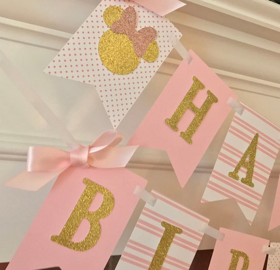 Pink And Gold First Birthday Banner Minnie Mouse