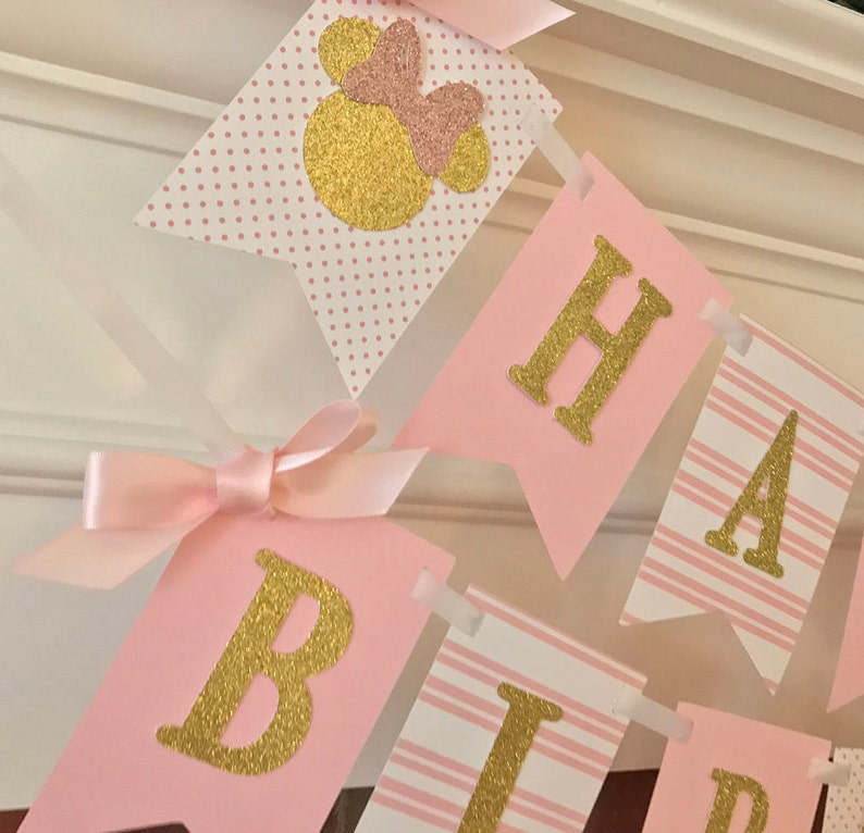 Pink And Gold Minnie Mouse Birthday Party First