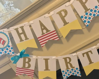 Dr. Seuss Happy Birthday banner, Cat in the Hat banner, Happy Birthday Banner
