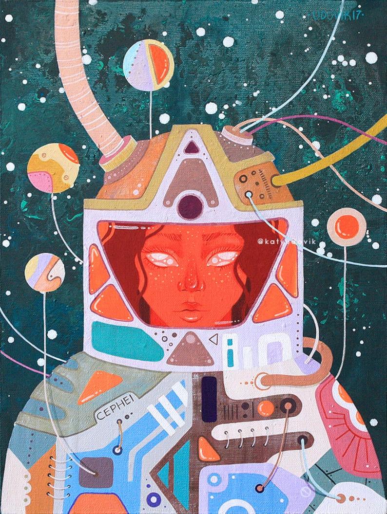 Cephei  Astronaut girl  Astronaut Space girl  Space art  Sci fi art  Sci  fi  Space canvas  Star girl  Star art  Fantastic art  Fantasy art