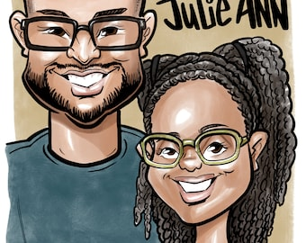 2 Person Couple Caricature (Head and Shoulders Only)