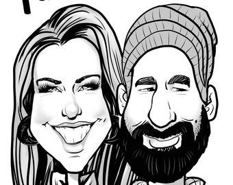 2 Person B/W Caricature (Head & Shoulders)