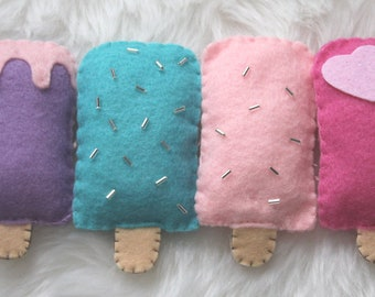 Ice cream garland in pastel colors (pink, purple and blue), beautiful decoration for a nursery or toddler's room
