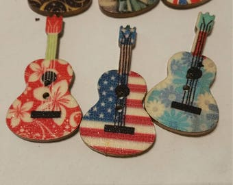 colourful wooden buttons in the form of guitar