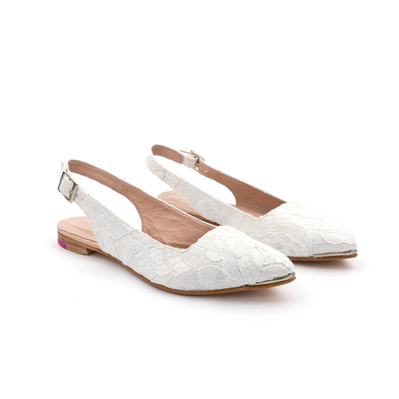 bridal ballet flats | wedding shoes with lace | leather bridal flats | white | ready to ship