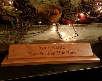 Desk Name Plate w/title, cherry wood