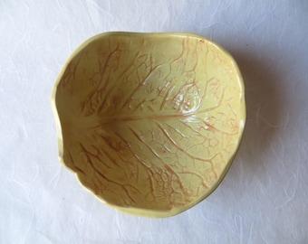 Ceramic bowl yellow-orange, cabbage leaf print, cereal bowl, unique, gift