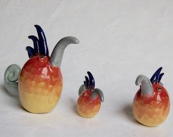 Birds of paradise, Kleiner Kiwiwi family, punker colorful, flowerpot, garden ceramics, beetplugs, garden plugs, frost-proof, unique
