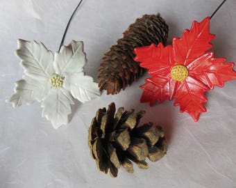 Christmas star flower, red or white, Christmas decoration, advent decoration, hand shaped, gift