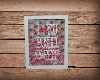 Valentine's Day Bushel and a Peck white shadow box
