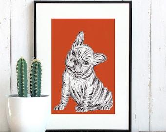 Cute Bulldog print, Bulldog puppy art print, French Bulldog wall art, French Bulldog puppy print, Watercolour Bulldog, Black & White Bulldog