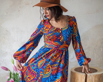 Vintage 70s Psychedelic Dress with Bell Sleeves
