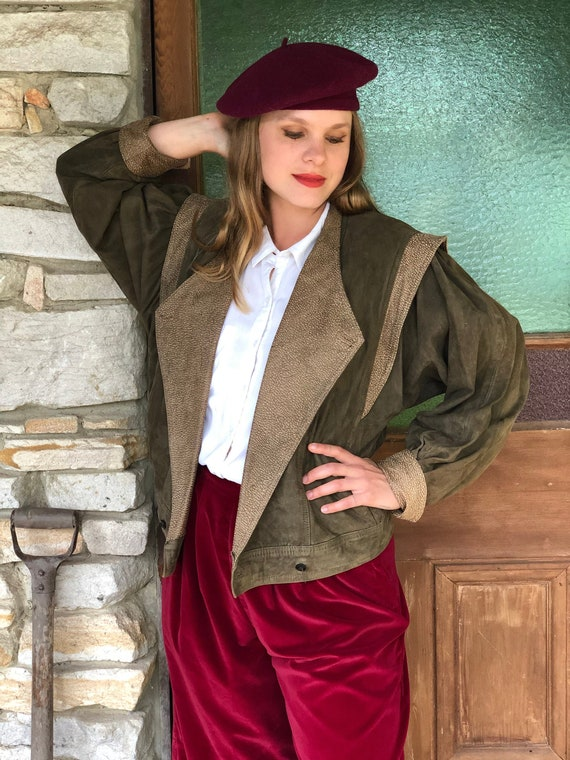 Vintage Olive Green Leather suede Jacket with stat