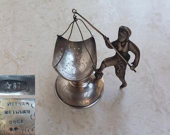 Fisherwoman Figurine Solid Silver 900 Tea Leaves Infusion Strainer Vietnam with 875 Soviet Hallmark