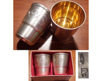 Two small Cups/Goblets Sterling Silver 916 Silver hallmarks USSR 1960s, video here - https://youtu.be/FdbUQ2ltCT8