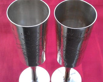 Two goblets silver plated Russian/Soviet origin